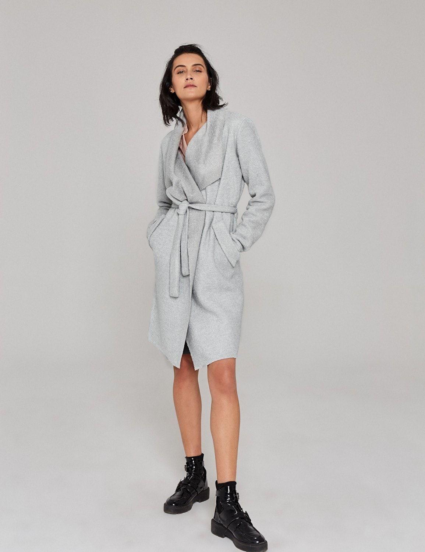 płaszcz welniany wiazany szary 1a
